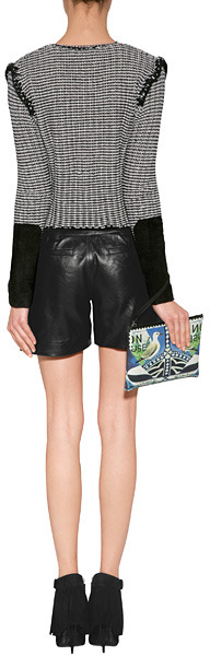 Milly Zip Pocket Leather Shorts in Black