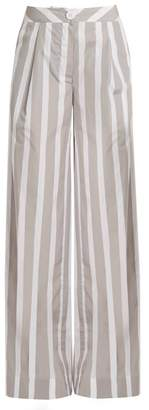 Thierry Colson Lou Lou Wide Leg Striped Cotton Trousers - Womens - Grey White
