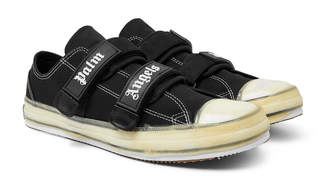 Palm Angels Logo-Print Cotton-Canvas Sneakers