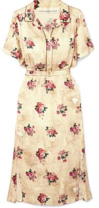 Golden Goose Vanilla Belted Floral-print Satin Midi Dress - Cream