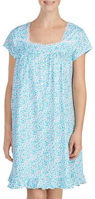 Eileen West Lace-Trimmed Cotton Short Nightgown