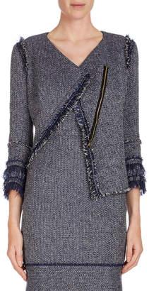 Roland Mouret Kirkham 3/4-Sleeve Tweed Jacket