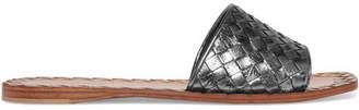 Bottega Veneta - Metallic Intrecciato Leather Slides - Silver $620 thestylecure.com
