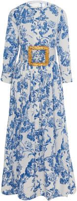 Oscar de la Renta Belted Tea Length Dress