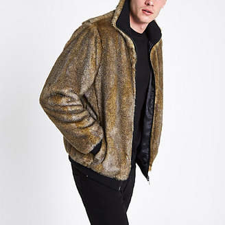 River Island Brown faux fur zip front jacket