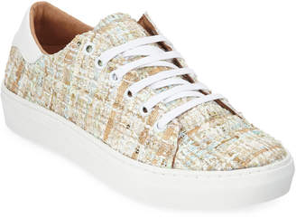 Neiman Marcus Tweed Boucle Lace-Up Sneakers