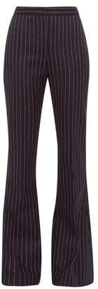 Alexander McQueen Flared Pinstriped Wool Trousers - Womens - Navy Stripe