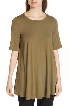 Eileen Fisher Jewel Neck Elbow Sleeve Tunic