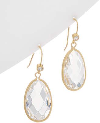 Rivka Friedman 18K Clad Rock Crystal & Simulated Diamond Earrings