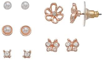 Lauren Conrad Butterfly & Flower Nickel Free Stud Earring Set