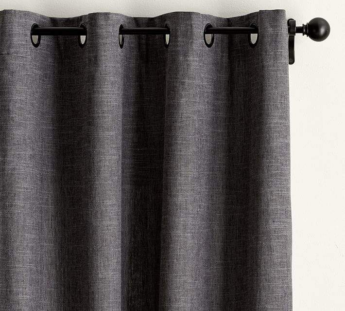 Emery Linen/Cotton Grommet Drape - Gray