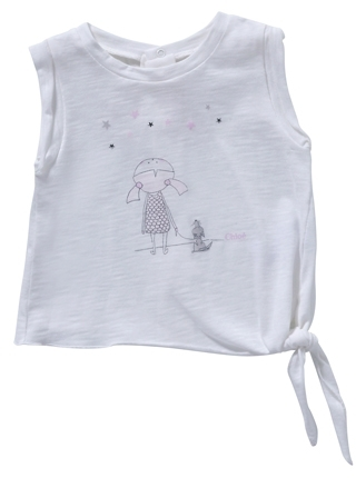 Chloé Girl's Jersey T-Shirt with Bow on Waist and Illustration - Off White