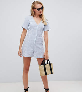Asos Tall DESIGN Tall Swing Romper With Button Detail In Stripe