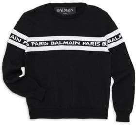 Balmain Boy's Long-Sleeve Logo Knit Sweater