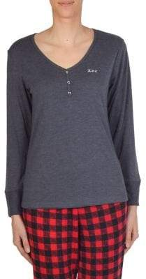 Claudel Comfort & Co 2-Piece Henley Top & Plaid Pajama Leggings Set