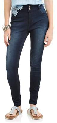 Wallflower Juniors' Curvy 3-Button High Rise Sassy Skinny Ankle Jeans