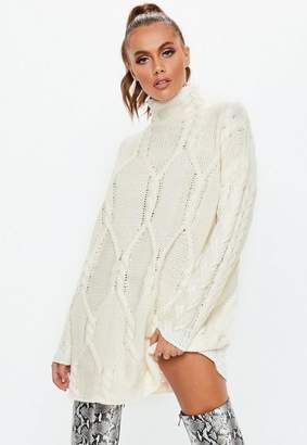 7aab8d56f2a8 Missguided Cream Cable Knit High Neck Sweater Dress