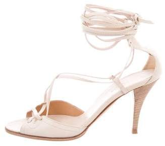 Hermes Leather Lace-Up Sandals