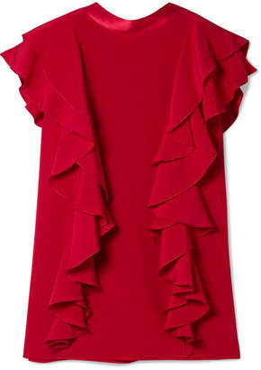 ADAM by Adam Lippes Satin-trimmed Ruffled Silk-crepe Top - Claret