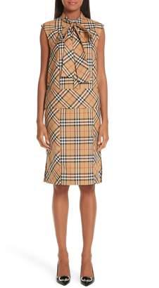 Burberry Luna Tie Neck Check Dress
