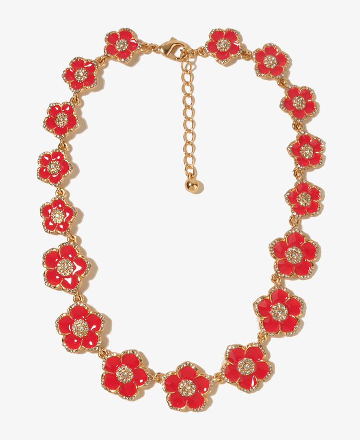 Forever 21 Lacquered Tropical Flowers Necklace