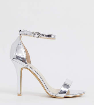 154165ee33b7 Barely There Glamorous Wide Fit silver mirror heeled sandal
