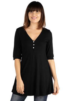 570e1c355b0 24 7 Comfort Apparel 24seven Comfort Apparel Women s Clothes Elbow Sleeve V  Neck Henley Tunic