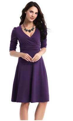 Best Nest Wellness Bestgift Women's Solid Color V-Neck High Waist Pile A-Line Dress M