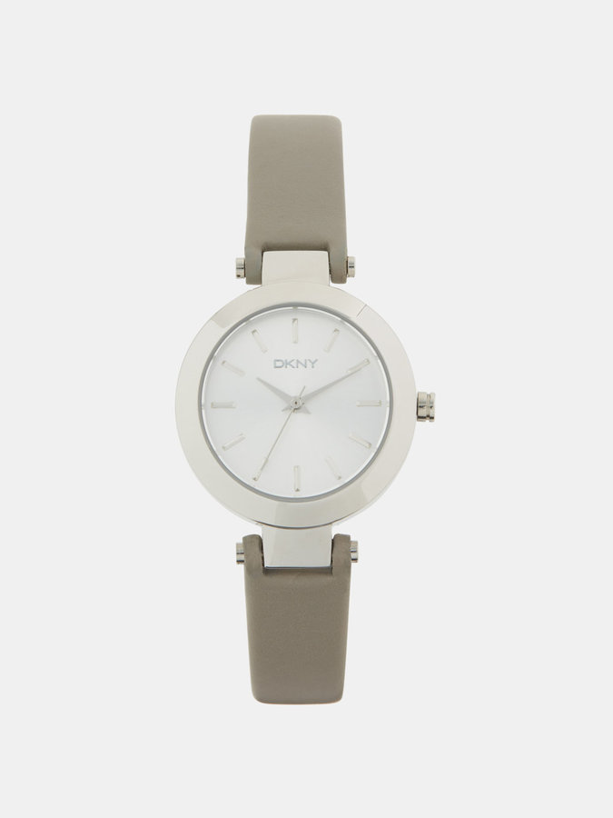 DKNYStanhope Grey Leather 3 Hand Watch