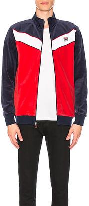 Fila Chevron Velour Jacket in Blue $80 thestylecure.com