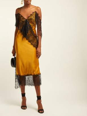 Romance Was Born Devotion Lace Trimmed Satin Slip Dress - Womens - Yellow