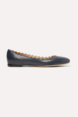 Chloé Lauren Scalloped Leather Ballet Flats - Midnight blue