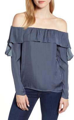 1 STATE 1.STATE Hammered Satin Off the Shoulder Ruffle Blouse