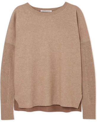 Agnona Waffle Knit-paneled Cashmere Sweater - Brown