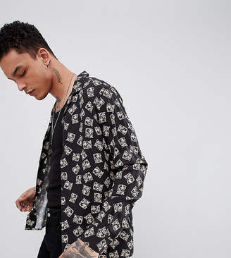 Heart & Dagger revere shirt in long sleeve with abstract print