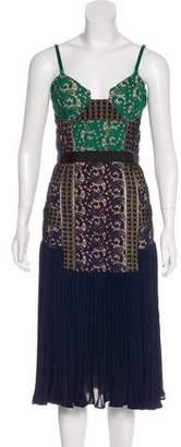 Self-Portrait Paneled Pleated Midi Dress w/ Tags