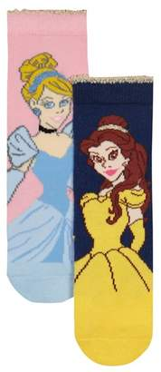 Character Disney - Pack Of Two Girls' Navy And Pink Princess Socks