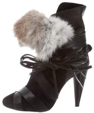 Isabel Marant Suede Fur Trim Boots
