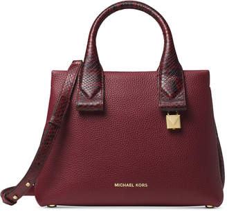 Michael Kors Rollins Small Python-Embossed Satchel