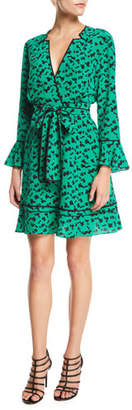 Tanya Taylor Nomi Printed Long-Sleeve Silk Short Dress