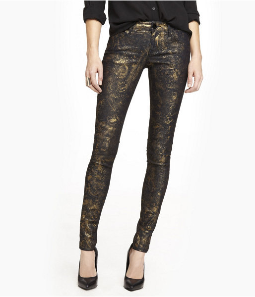 Express Stella Marbled Gold Legging