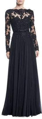 Badgley Mischka Long-Sleeve Bead, Lace & Tulle Gown