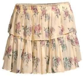 LoveShackFancy Women's Floral Silk Ruffle Mini Skirt - Dream - Size XS