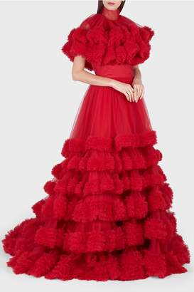 Christian Siriano Queen Red Layered Ruffle Capelet Gown