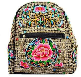 VINTAGE EMBROIDERY V.E. Vintage Women Backpack Travel Shoulder Bag Schoolbags Mochila Rucksack