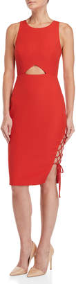 BCBGMAXAZRIA Cutout Lace-Up Sheath Dress
