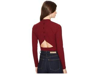 BB Dakota Adria Rib Knit Cut Out Back Mock Neck Top Women's Clothing
