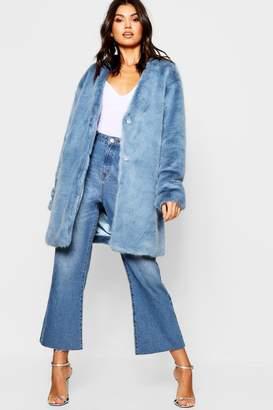 boohoo Luxe Collarless Faux Fur Coat