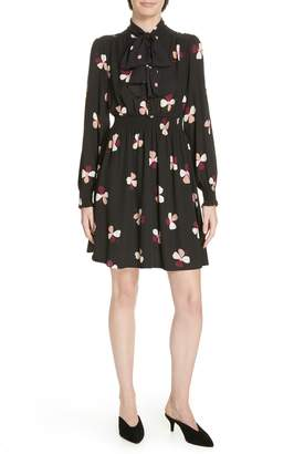 Kate Spade Dusk Buds Print Tie Neck Dress