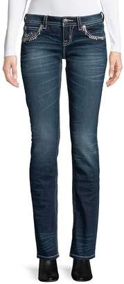 Miss Me Women's Snowflake Embroidered Jeans - Dark Blue, Size 29 (6-8)